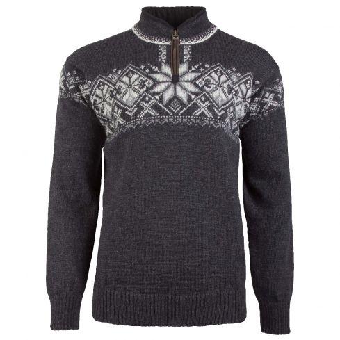 Dale: Geiranger 93681 E Noorse unisex pullover gemaakt van 100% duurzame Noorse wol met bies van Elandleer langs de rits