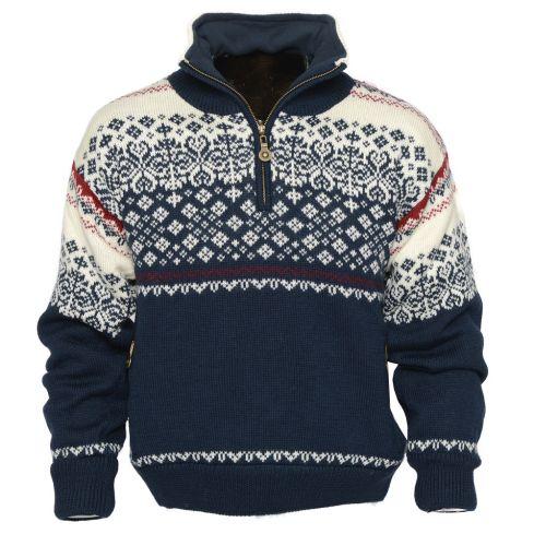 Geilo:1022  Noorse unisex pullover van 100 % Merino wol, gevoerd met een goed ademende lining en fleece in kraag