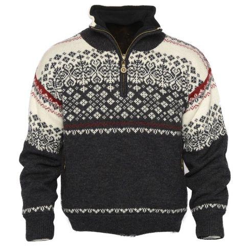 Windfjord: Geilo 1001: Noorse gevoerde unisex pullover van 100% Merino wol met hoogwaardig fleece in kraag