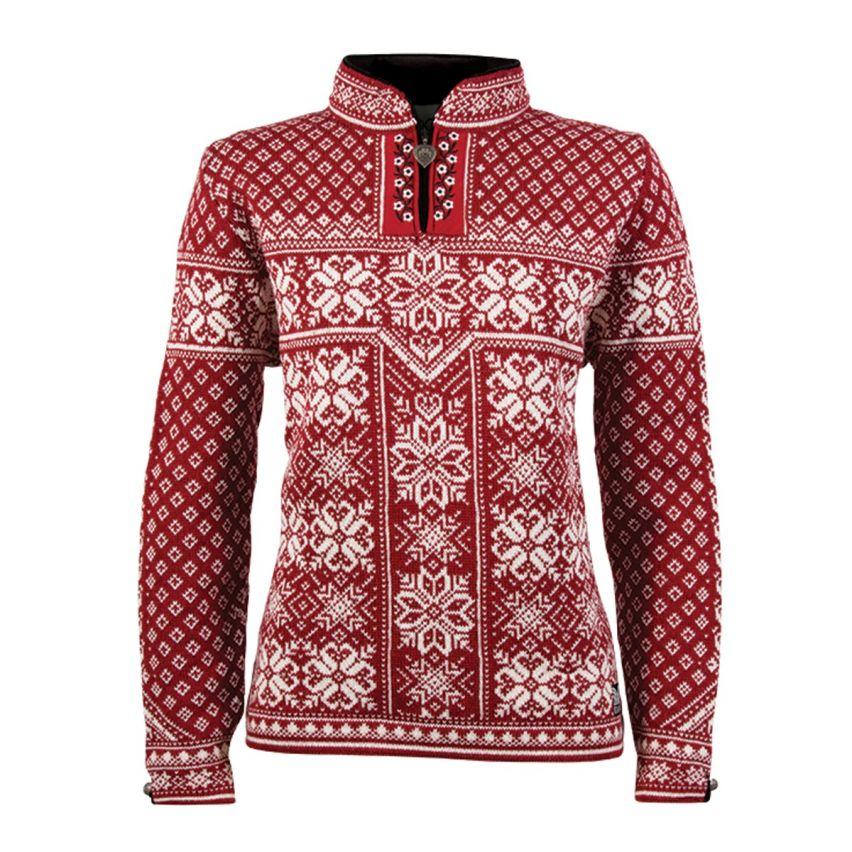 Dale: Peace 13311 B ongevoerde Noorse dames pullover van 100% Noorse wol met prachtige bies langs rits