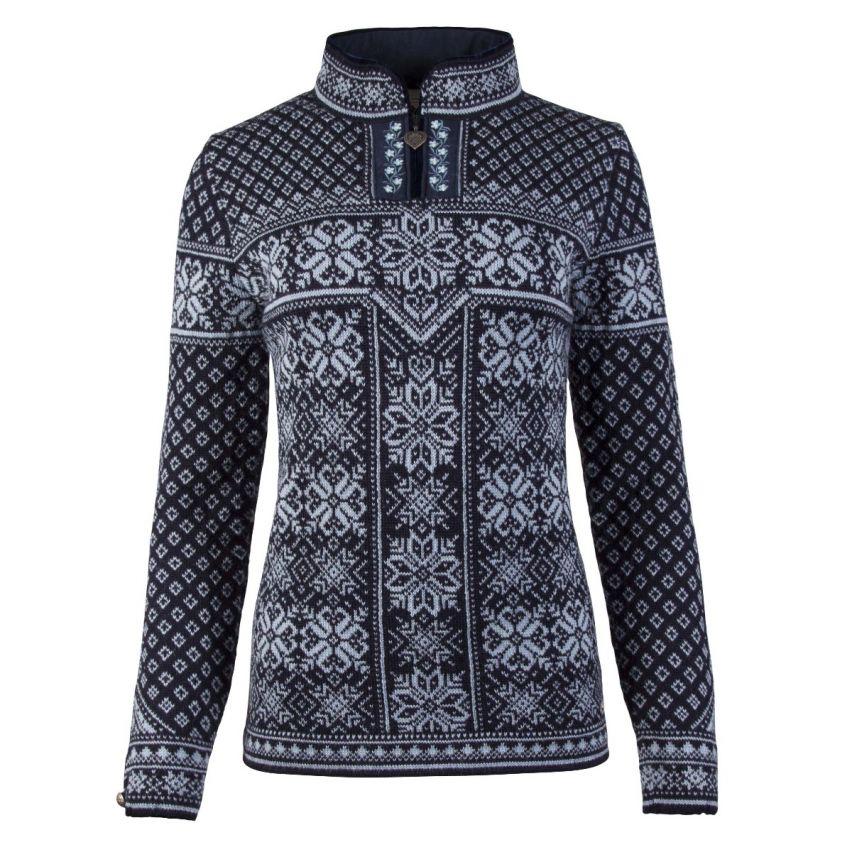 Dale: Peace 13311 C ongevoerde Noorse dames pullover van 100% duurzame Noorse wol met prachtige bies langs rits