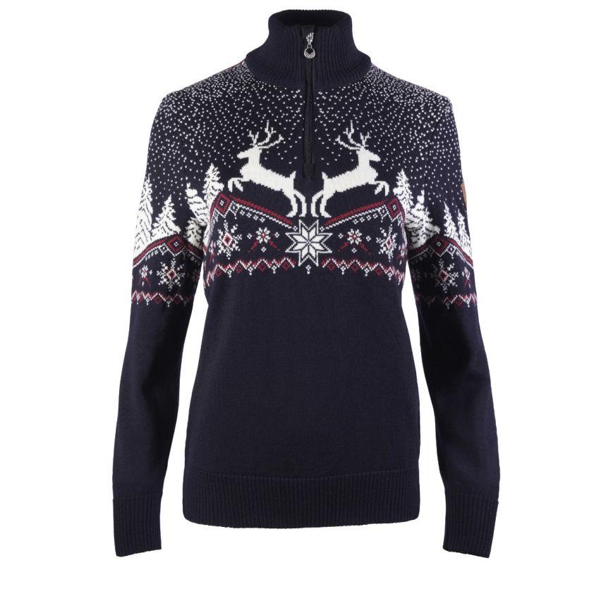 Dale of Norway: Christmas 93921C getailleerde dames pullover van 100% Merino wol