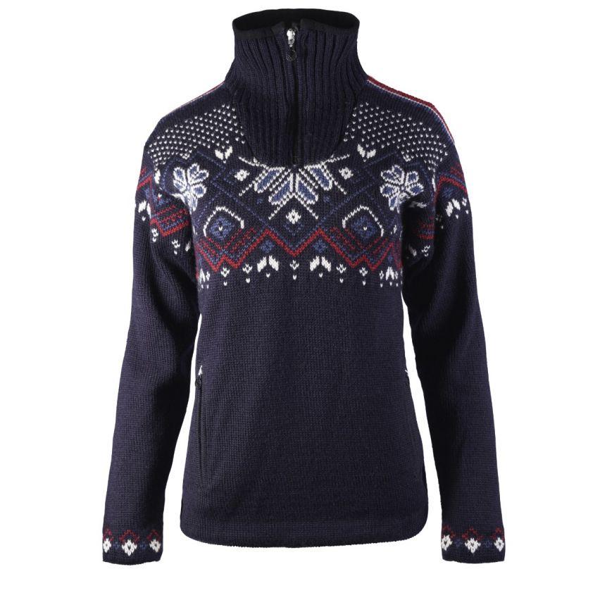 Dale of Norway: Fongen 93961C dames pullover van 100% Noorse wol , winddicht en iets getailleerd.