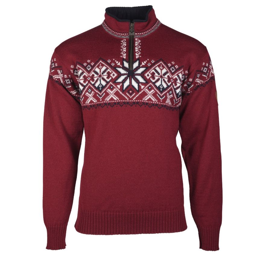 Dale of Norway: Geiranger 93681B Noorse unisex pullover gemaakt van 100% duurzame Noorse wol met bies van Elandleer langs de rits